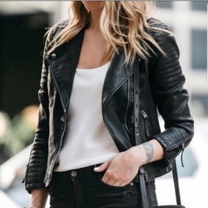 TOPSHOP Moto Black Faux Leather Jacket Quilted 10